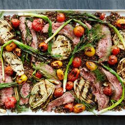 Grilled Steak, Vegetable, and Quinoa Salad With Yogurt-Tahini Dressing