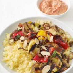 Grilled Vegetables With Couscous and Yogurt Sauce