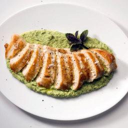 Grilled Chicken with Edamame Skordalia