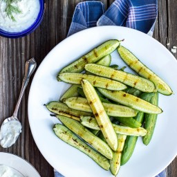 Grilled Cucumbers with Creamy Pickled Feta Dip