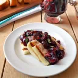 Grilled Halloumi Cheese with Fresh Cherry Salsa {California Olive Ranch Gri