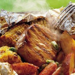 Grilled Honey-Barbecue Pork Foil Packs