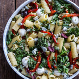 Grilled Kale and Veggie Tuscan Pasta Salad with Mozzarella + Blue Cheese.