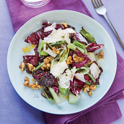 Grilled Leek and Radicchio Salad with Citrus-Walnut Vinaigrette