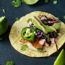 Grilled Mahi Mahi Fish Tacos with Chipotle Lime Crema