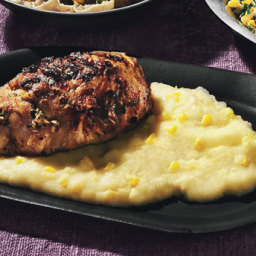 Grilled Mustard Chicken with Fresh Corn Polenta