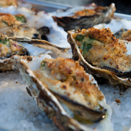 Grilled Oysters Rockefeller with Baby Spinach Bacon Fondue