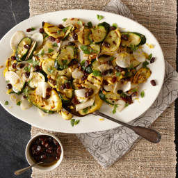 Grilled Squash and Onion Salad with Raisins and Pine Nuts