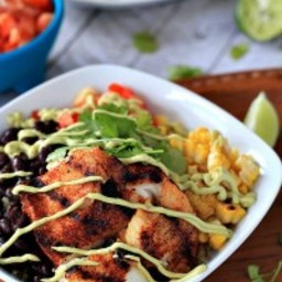 Grilled Tilapia Bowls with Chipotle Avocado Crema {Gluten Free}
