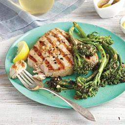 Grilled Tuna and Broccolini with Garlic Drizzle