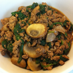 Ground Turkey with Mushrooms, Onions, and Spinach