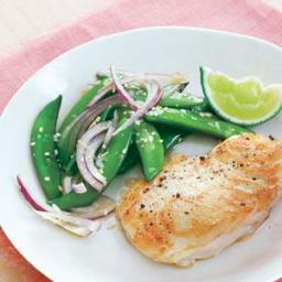 Halibut With Sugar Snap Pea Salad
