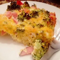 Ham & Broccoli Quiche with Potato Crust