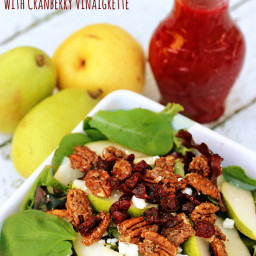 Harvest Pear Salad with Cranberry Vinaigrette Dressing