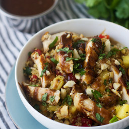 Hawaiian Quinoa Bowls with Cilantro Honey Vinaigrette and Spicy Peanut Sauc