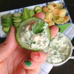 Healthy Chilled Spinach Dip with EXTRA Veggies!
