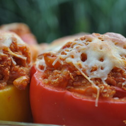Healthy Quinoa and Ground Turkey Stuffed Peppers