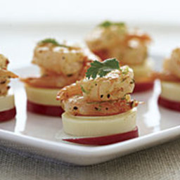 Hearts of Palm and Radish Coins with Shrimp