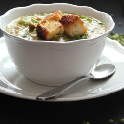 Hearty Split Pea Soup with Lemon and Olive Oil Croutons