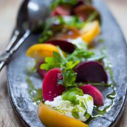 Heirloom tomato, Beet and Burrata salad w/ Basil oil