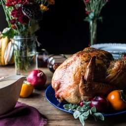Herb and Butter Roasted Turkey with White Wine Pan Gravy.