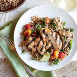 Herbed Wheat Berry and Roasted Tomato Salad with Grilled Chipotle Chicken B