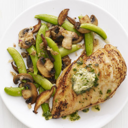 Herbed Chicken with Snap Peas and Mushrooms