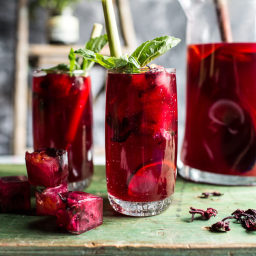 Hibiscus, lemongrass and Basil Honey Sweet Iced Tea.