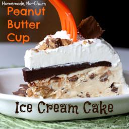 Homemade No-Churn Peanut Butter Cup Ice Cream Cake