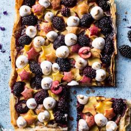 Honey Butter Stone Fruit and Blackberry Meringue Tart.