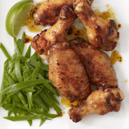 Honey-Glazed Chicken Wings With Snow Peas