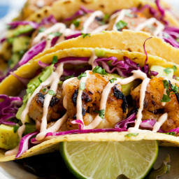 Honey Lime Tequila Shrimp Tacos with Avocado, Purple Slaw and Chipotle Crem