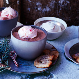 Hot-Cocoa Affogato with Peppermint Ice Cream