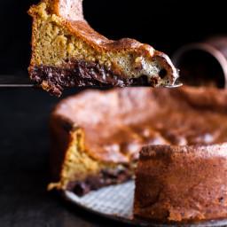 Incredibly Gooey Collapsing Chocolate Bourbon Pecan Pie Custard Cake.