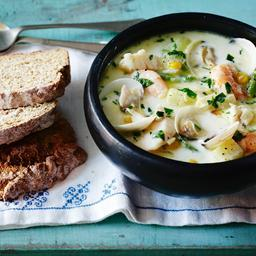 Irish fish chowder with soda bread