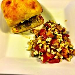 Italian Burgers with Fresh Mozzarella and Tomato-Corn Salad