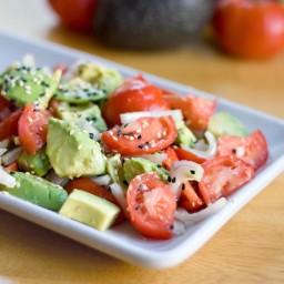 Italian Salad of Mozzarella, Avocado, and Tomato