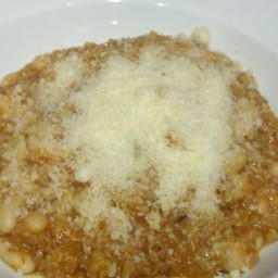 Italian style quinoa with white beans, marinara, and provolone