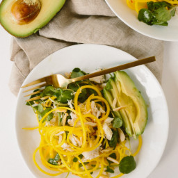 Jalapeno-Citrus Golden Beet Noodle Salad with Crab, Avocado and Toasted Alm