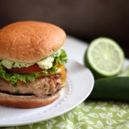 Jalapeno Turkey Burgers with Cheddar and Guacamole