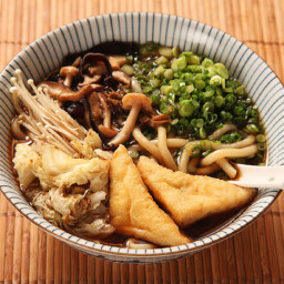 Japanese Udon with Mushroom-Soy Broth with Stir-fried Mushrooms and Cabbage