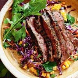 Jerk steaks with cornslaw