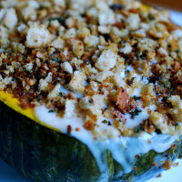 Kabocha Squash with Sunchokes, Mushrooms & Cheese