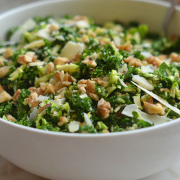 Kale & Brussels Sprout Salad with Walnuts, Parmesan & Lemon-Mustard Dressin