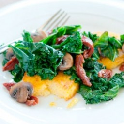 Kale, Mushroom and Tomato Saute with Polenta
