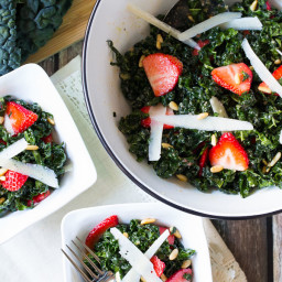 Kale Salad Recipe with Pecorino, Strawberries, Pine Nuts