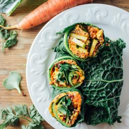 Kale Wraps + Carrot Cumin Cashew Spread