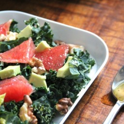 Kale Salad with Grapefruit, Avocado  and  Walnuts