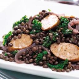 Kale, Sausage  and  Lentil Skillet Supper