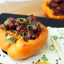 Korean BBQ Beef Stuffed Bell Peppers